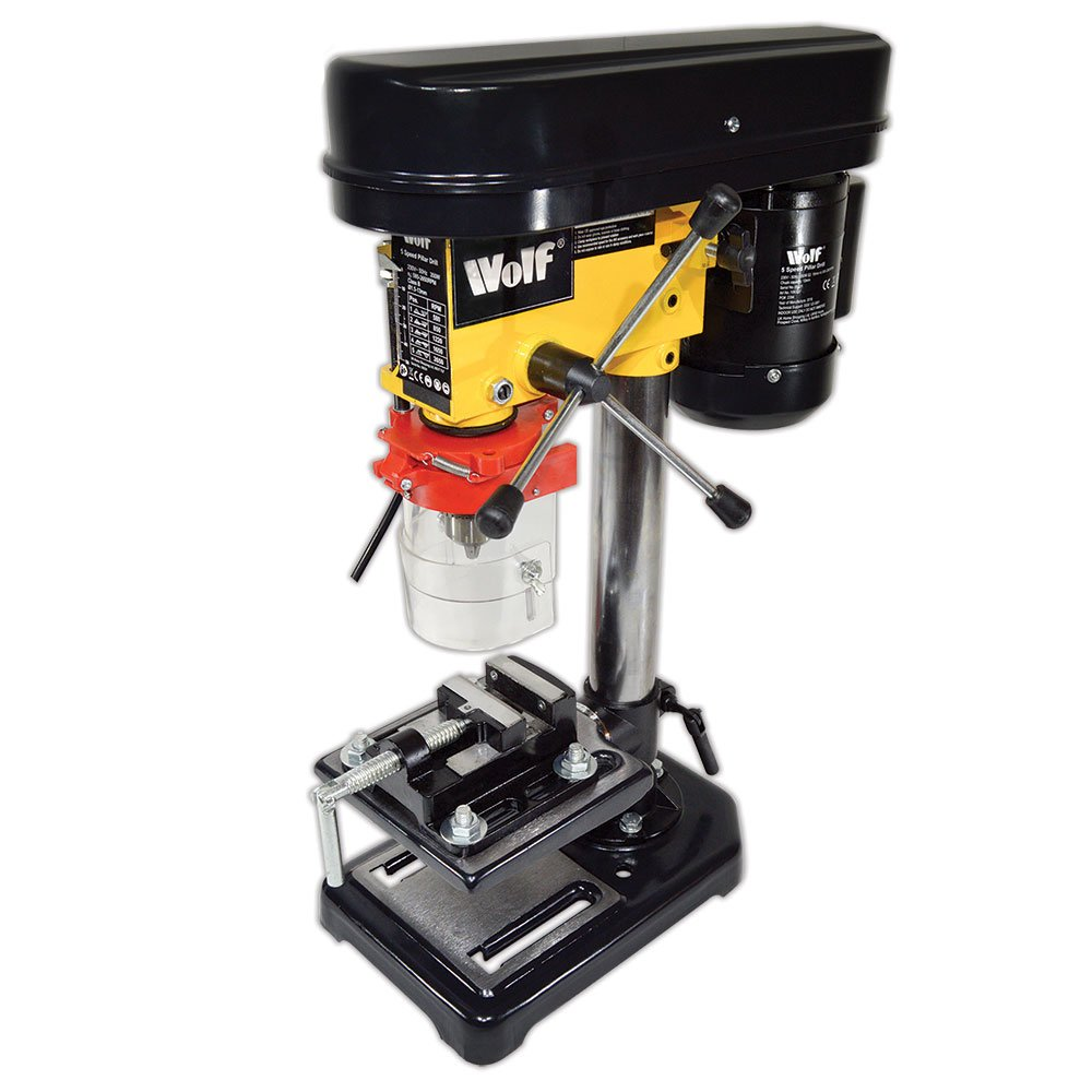 Wolf 5 Speed 13mm Pillar Drill Press Bench Top Mounted with 2½ ' Vice - 2 YEAR WARRANTY