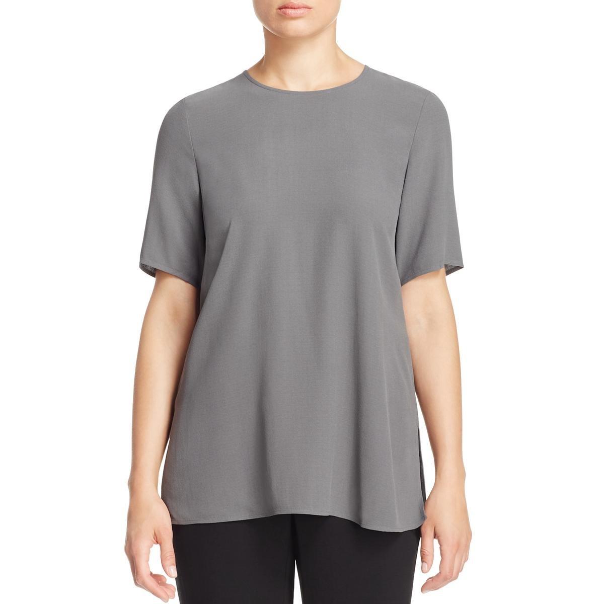 Eileen Fisher Womens Silk Back Button Blouse Gray XL