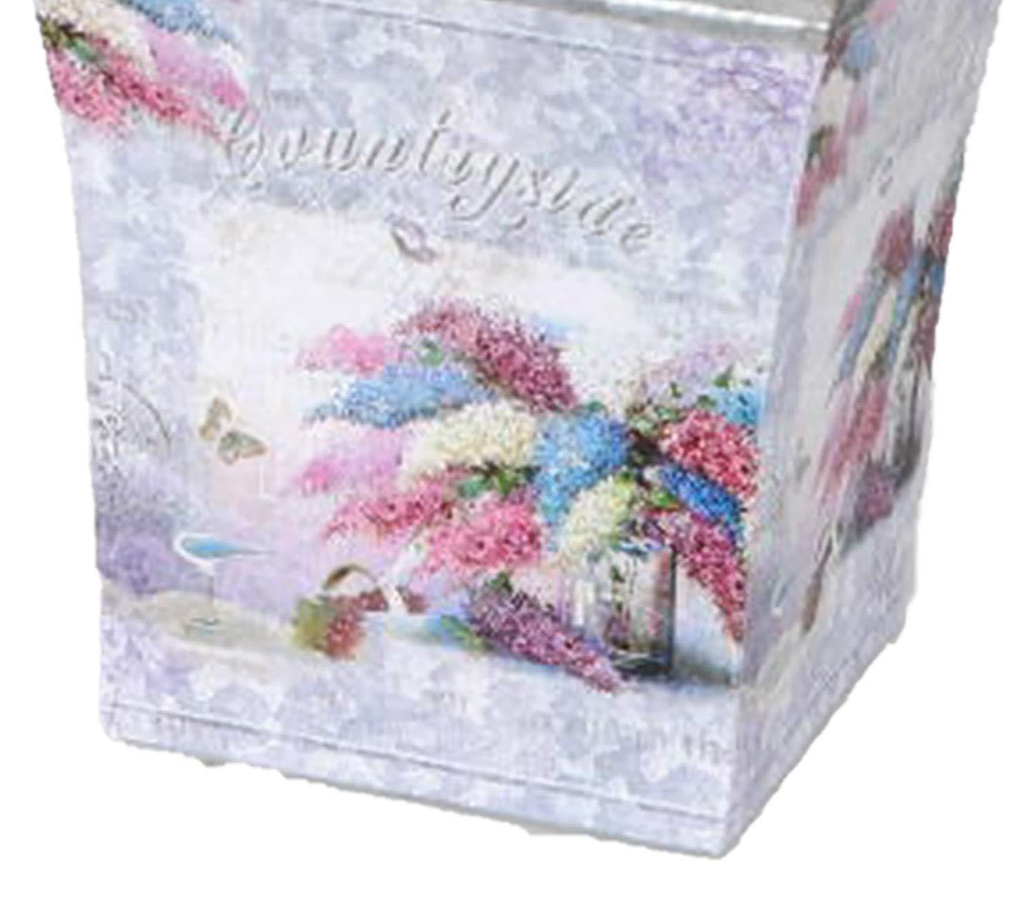 Geschenkkarte dekojohnson Blumenk/übel Pflanzgef/ä/ß Blumentopf /Übertopf Vintage Retro Countrystyle Flieder Zink 14x14cm