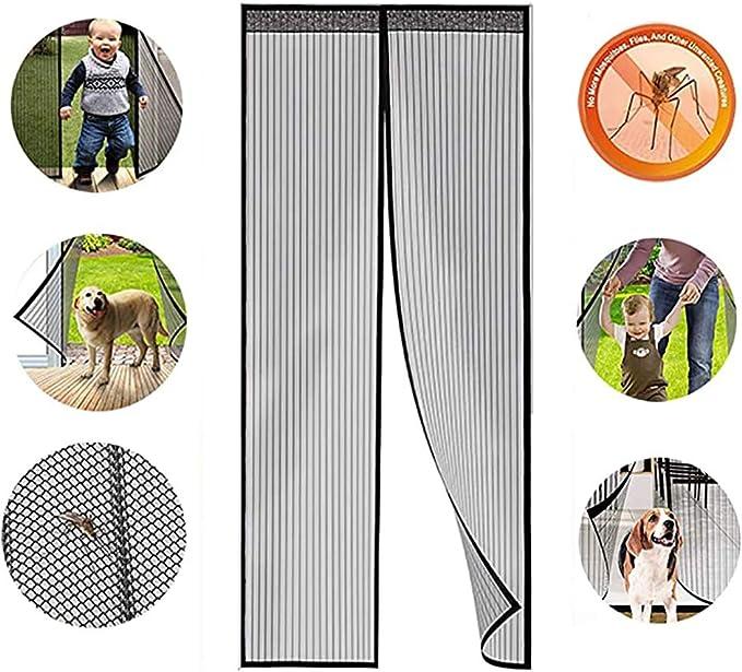 28x75inch Rideau Moustiquaire Rideau Anti Mouche Anti Insecte Mouche Moustique pour Enfants et Animaux de Compagnie Gris 70x190cm Rideau Aimant/é pour