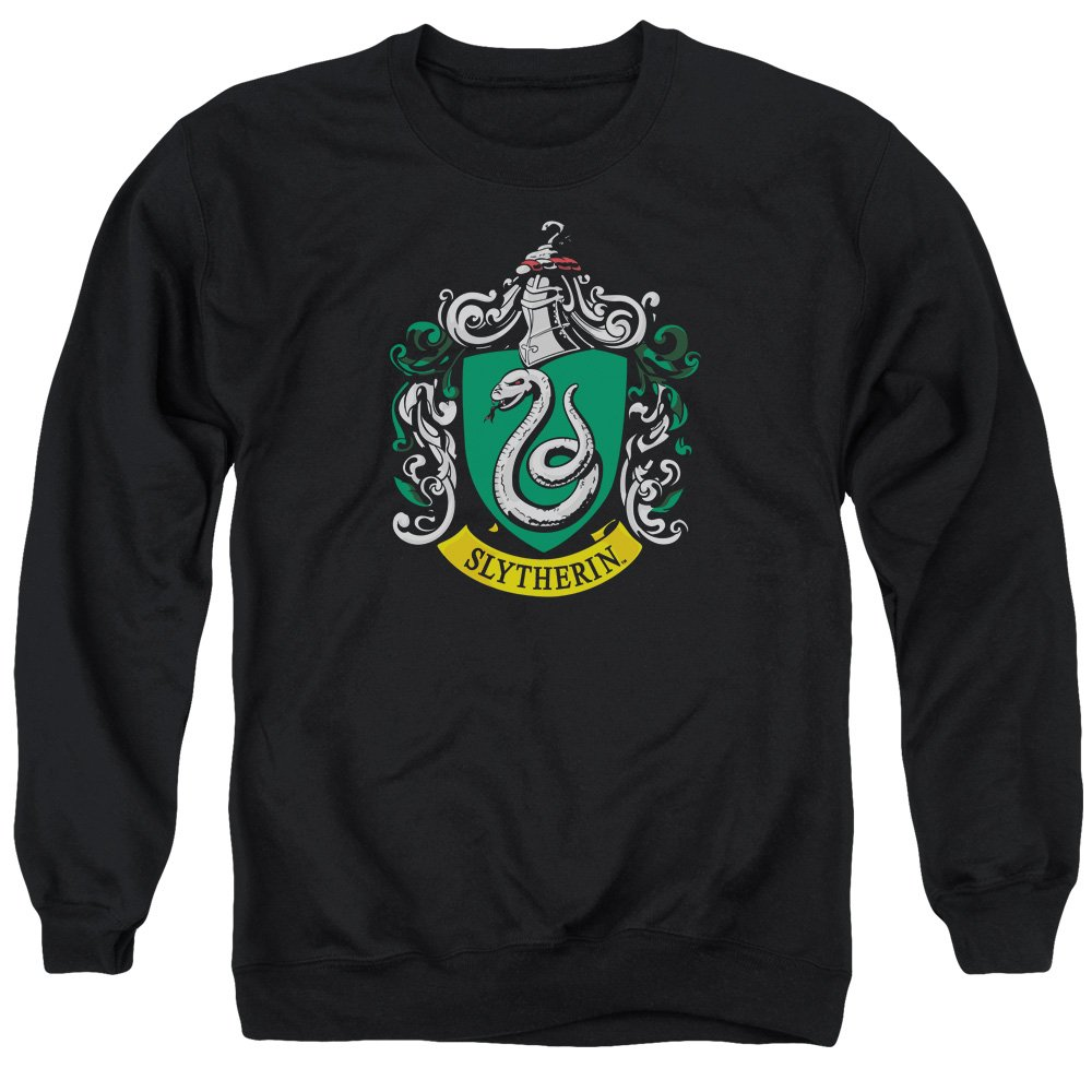Harry Potter Slytherin Crest Adult Crewneck Sweatshirt Black Trevco