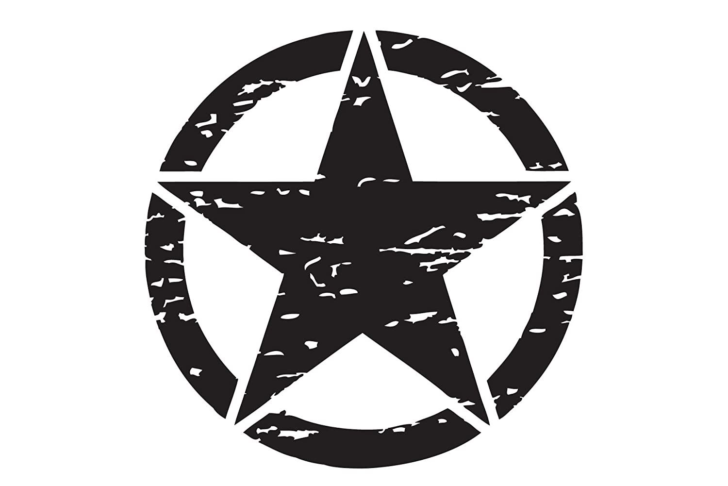The Pixel Hut gs00155 20' Matt Black Distressed Army Military Star Hood Decal