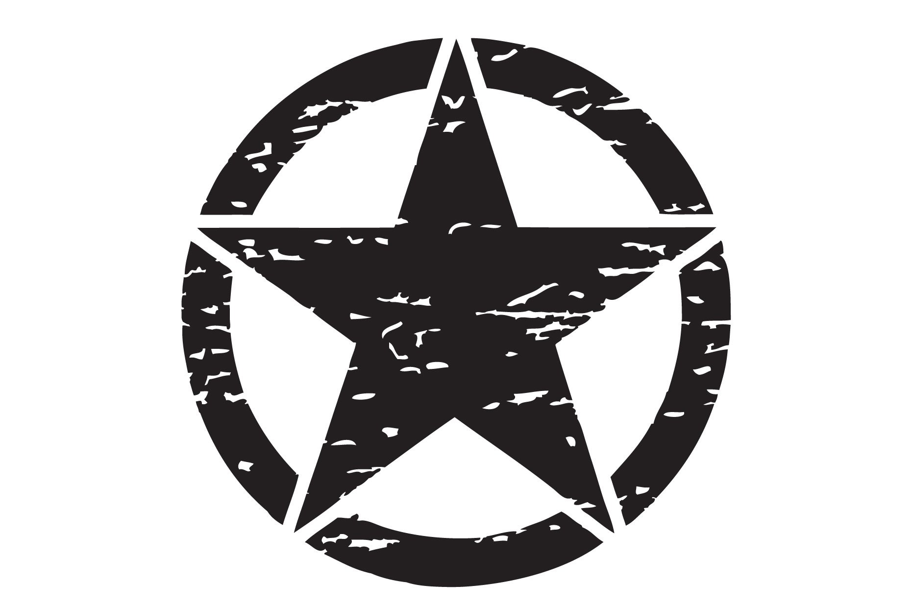 The Pixel Hut gs00155 20'' Matt Black Distressed Army Military Star Hood Decal