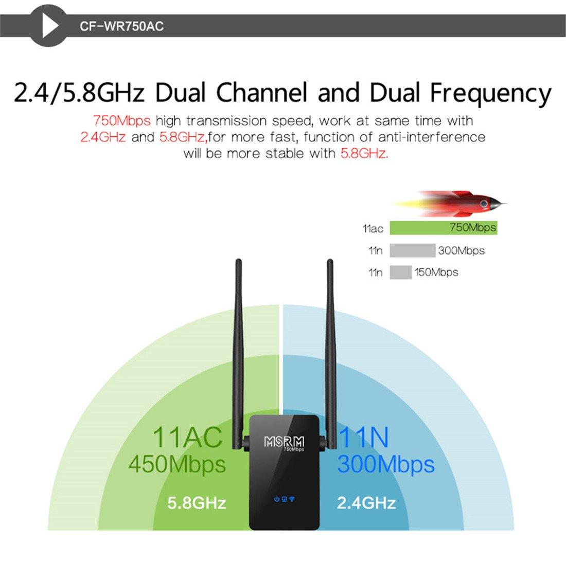MSRM US750 750Mbps Long WiFi Range Extender 360 Degree Full Coverage High Power Dual Band Range Extender (Black) by MSRMUS (Image #3)
