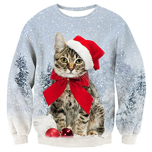 RAISEVERN Unisex Ugly Christmas Cat Snowflake Tree Print Long Sleeve Crewneck Pullover Sweater Sweatshirt for Wome ()