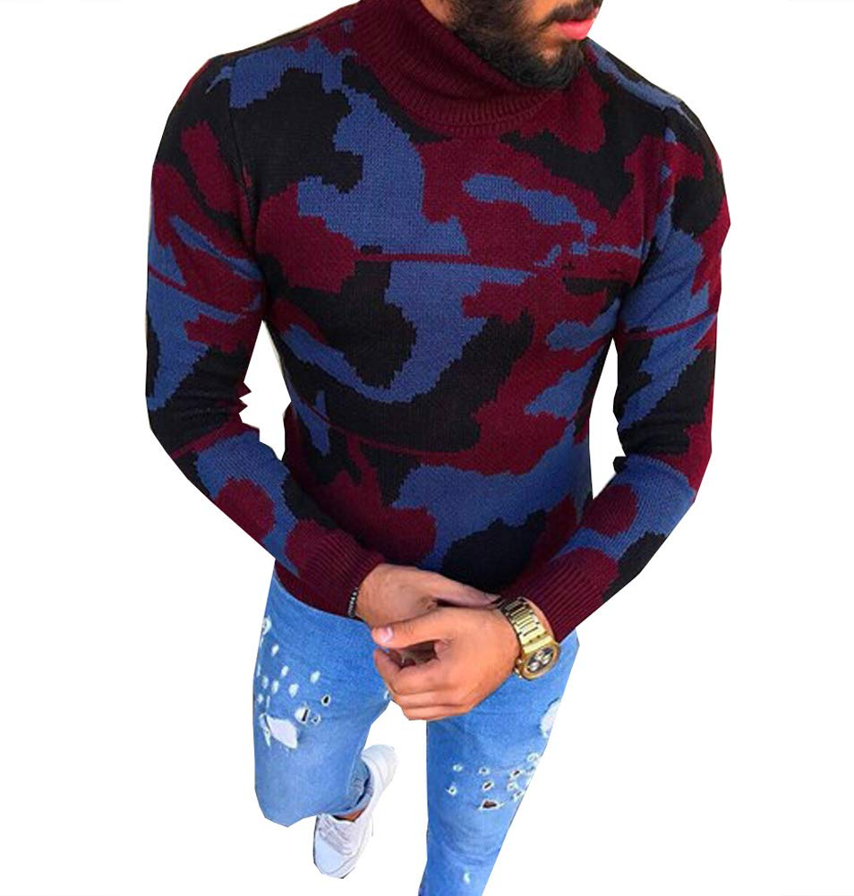 Men's Casual Slim Fit Long Sleeve Pullover Turtle Neck Camouflage Knit Sweater (Medium, Wine Red)