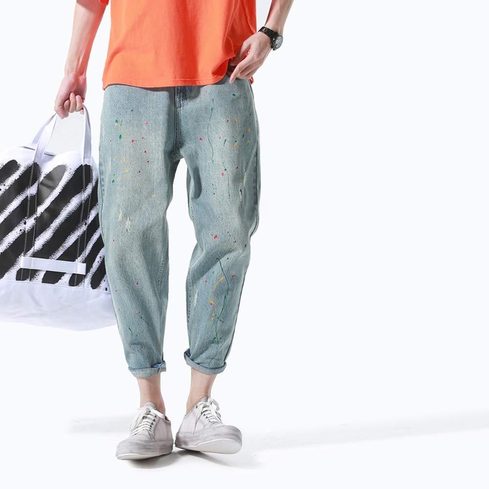 EVEORSSRA Jeanshosen Herbst Herrenbekleidung Tide Retro Farbe Jeans Mode neun Hosen Füße Haren Hosen Männer