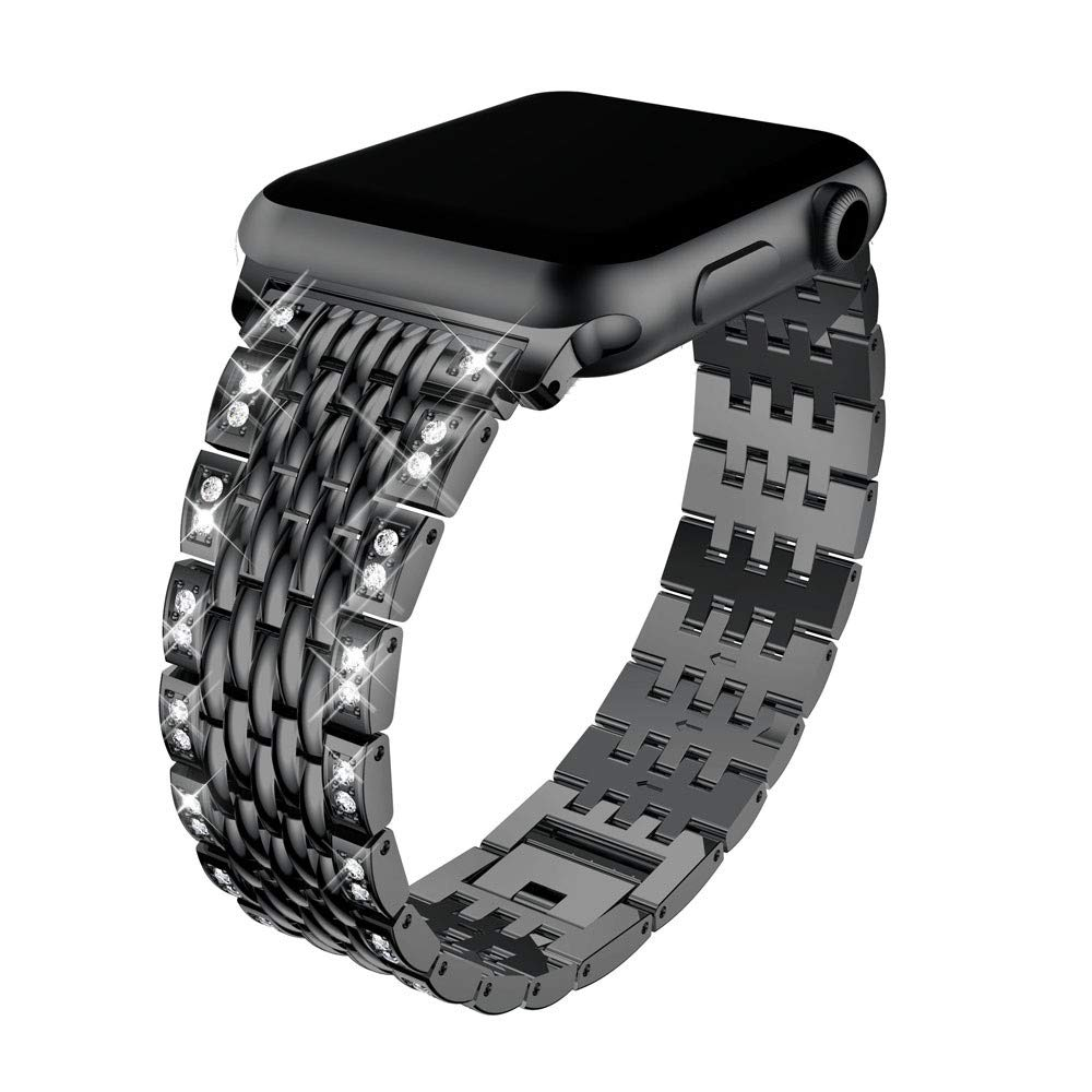 Lovewe Apple Watch Band With Bling Crystal,Comfortable Luxury Durable Metal Crystal Watch Band For Apple Watch Series 1/2/3 38mm/42mm (Black, 38mm)