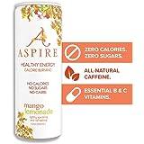 ASPIRE Healthy Energy Drink – Mango Lemonade, 12 Pack – Zero Sugar, Calories or Carbs – Keto, Vegan, Kosher – Contains Natura