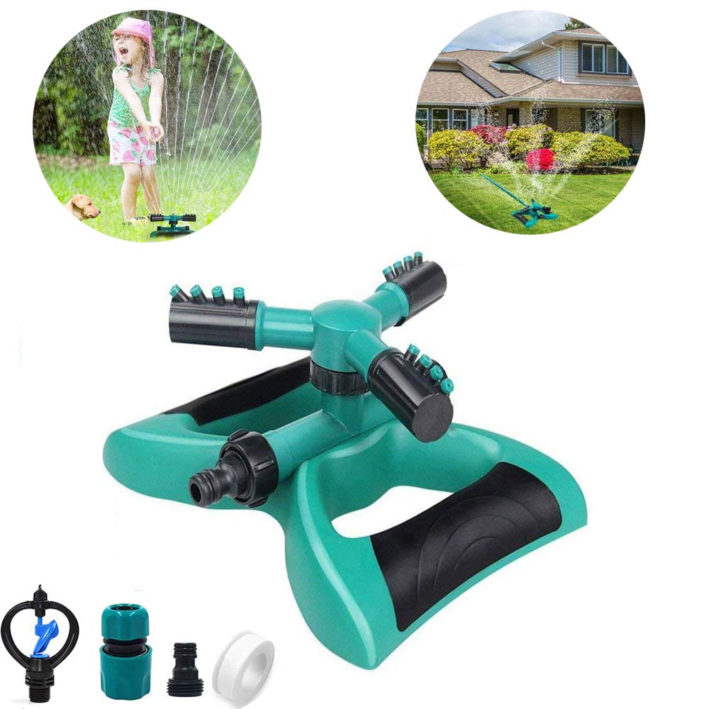 Cybbo Automatic 360 Rotating Adjustable Garden Water Sprinklers Lawn Irrigation System Covering Large Area with Leak Free Design Durable 3 Arm Sprayer, Easy Hose Connection