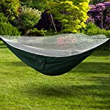 Portable Camping Hammock with Mosquito Net Lightweight Parachute Bed for backyard, Outdoor Camping, Hiking, Travel, Backpacking, Nylon Fabric Army Green