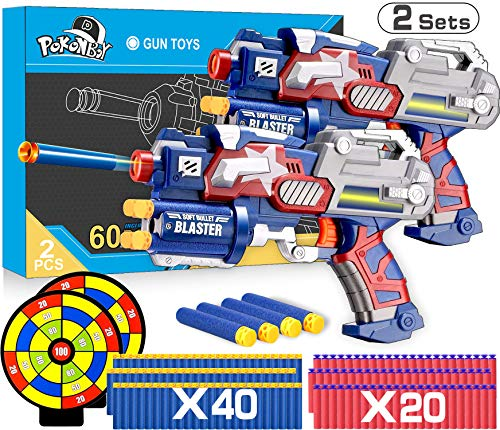 POKONBOY 2 Sets Blaster Toy Guns for Boy, Foam Bullet Toy Gun with 60 PCS Refill Darts and 2 Targets for Kids 5 6 7 Year Old Boys Gun Games Christmas