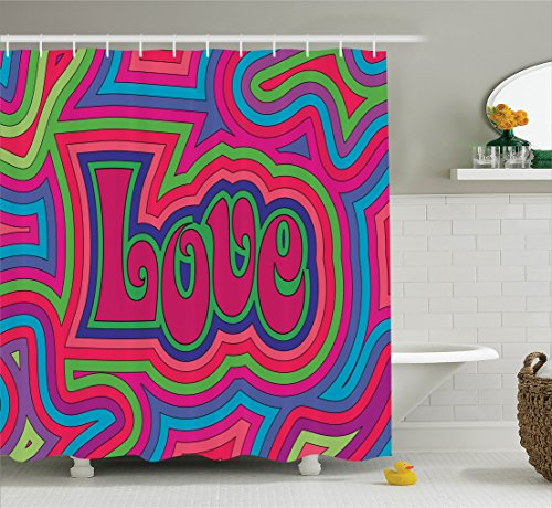 Ambesonne Decorations Collection Psychedelic Polyester