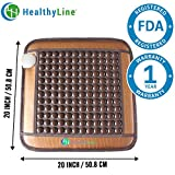 HealthyLine Natural Far Infrared Heating Pad - Relieve Muscles, Joints & Bones Pain - 20''X 20'' - TourmalineStone - Negative Ions  - US FDA
