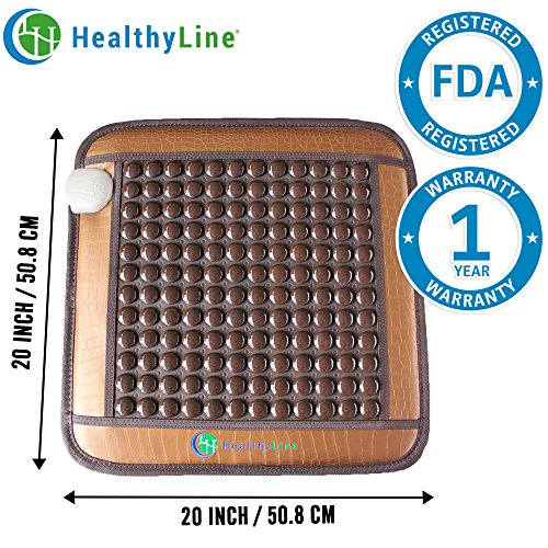 HealthyLine Natural Far Infrared Heating Pad - Relieve Muscles, Joints & Bones Pain - 20''X 20'' - TourmalineStone - Negative Ions  - US FDA by HealthyLine
