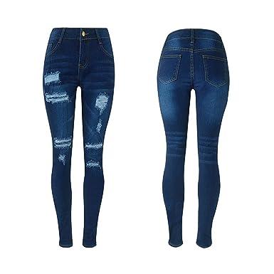 Pantalons Jeans troué Femme, Koly Chic Jeans déchiqueté Taille Haute Slim  Femme Skinny Bleu rétro 1564056d218