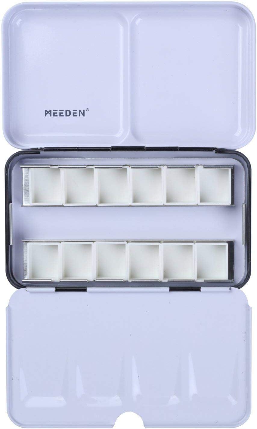 Meeden - Caja para acuarelas vacía, que contiene 12 medias bandejas o 6 enteras Tin with half pans (12) negro: Amazon.es: Hogar