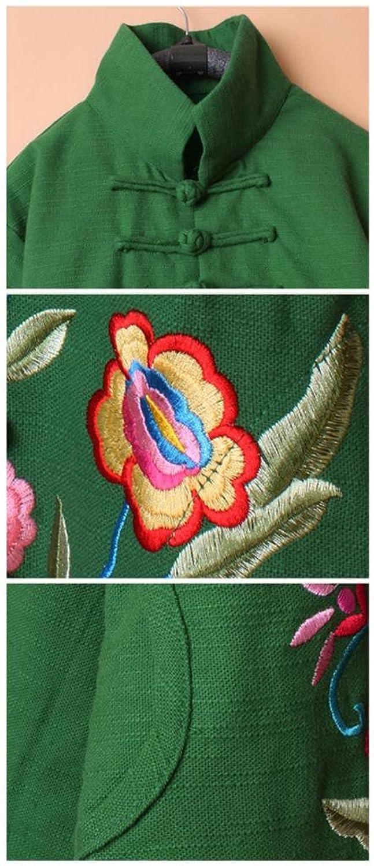 100% Handmade Linen Cotton Blouse Shirt Top - Oriental Chinese Embroidery Art #118
