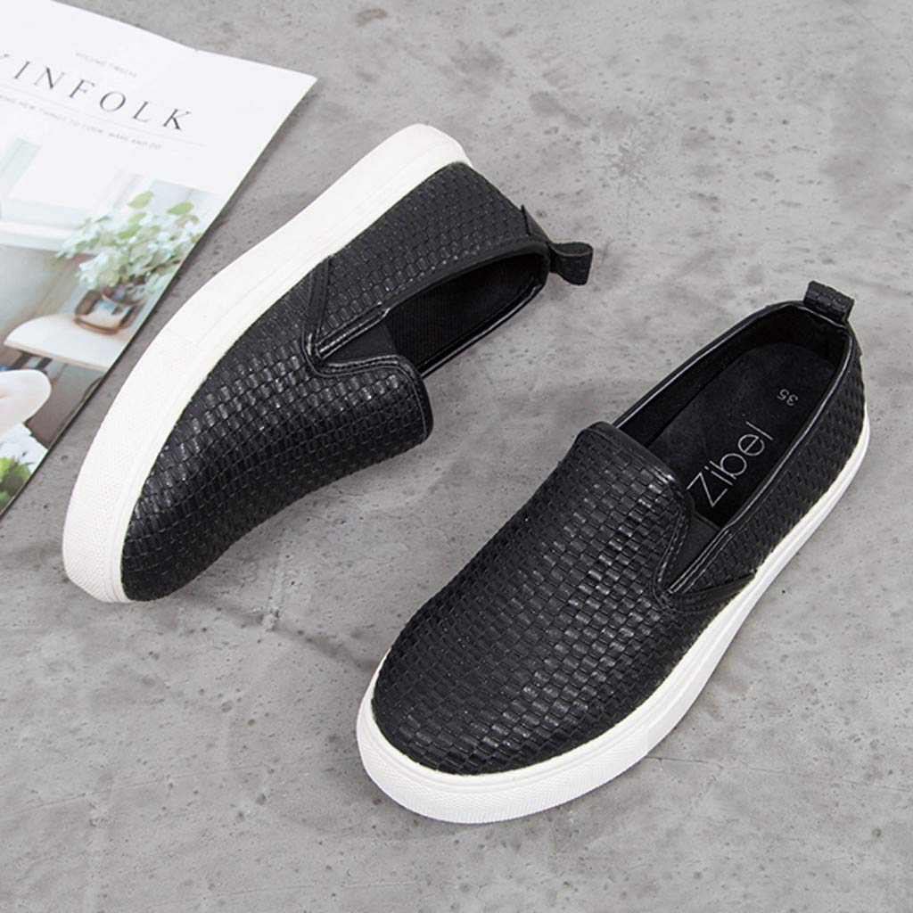 ✔ Hypothesis_X ☎ Women's Preforated Slip On Sneakers Roman Plus-Size Flat Casual Pumps Shoes Black by ✔ Hypothesis_X ☎ Shoes (Image #5)