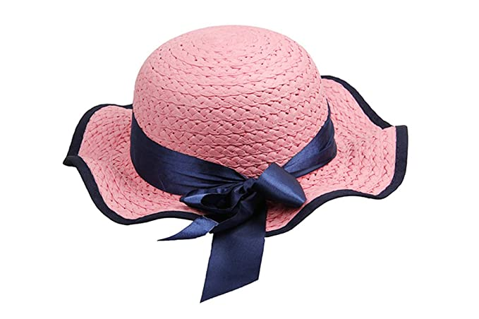 Dantiya-moda bambine estate arco paglia sppiaggia cappelli da sole (rosa) a4cb8dc4dbeb