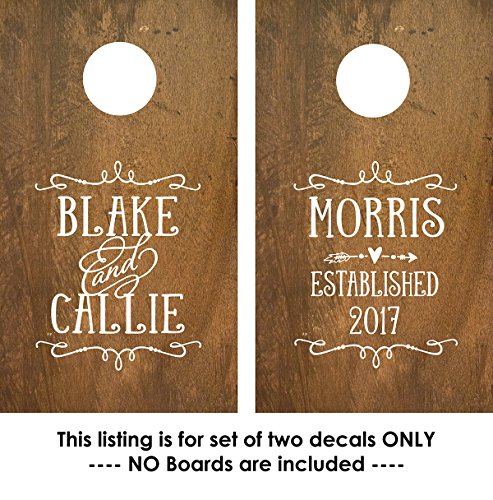 Personalized Cornhole Board Decals Stickers - Custom Wedding Monogram - 2 Decals
