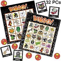 JOYIN 32 Halloween Bingo Game Cards (4x4 & 5x5) – 16 Players for Halloween