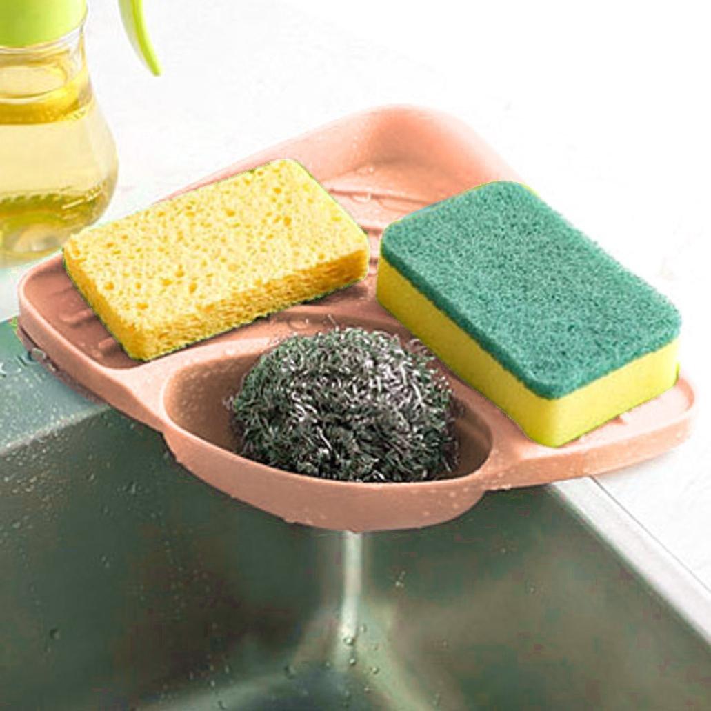 Ninasill Hot ! ღ ღ Sponges Kitchen Sink Corner Shelf Wall Cuisine Dish Rack Drain Boxes (Blue) z951003c