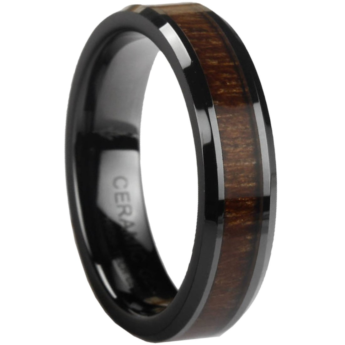 Black Ceramic Ring With KOA Wood Inlay by CERAMIC GESTALT - 6mm. Comfort Fit. RBL6KOA8