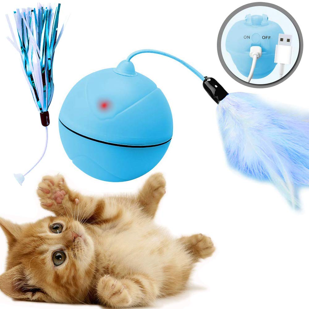 Juguetes para Gatos Pelotas, Carga USB Blanco Juego Divertido de Toys for Cat Balls con Luces LED//Plumas Gatito Interactivo de Juguetes rotaci/ón autom/ática DYBOHF Bola de Gato