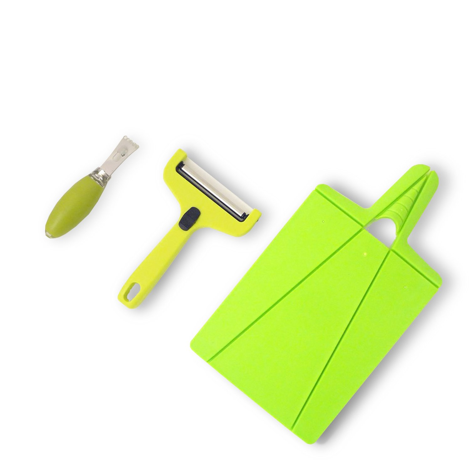 Top Vegetable Spiraler Cutter Slicer Small Green Folding Cutting Board Cheese Zester Kitchen Essential Birthday Present Idea Family Mom Dad Grandpa Brother Chef Cook Set Best Stocking Stuffer College by JCCentral (Image #4)