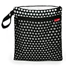 Skip Hop Baby Grab and Go Wet / Dry Reusable Diaper Bag with Waterproof Lining and Attachable Strap, Black Connected Dots