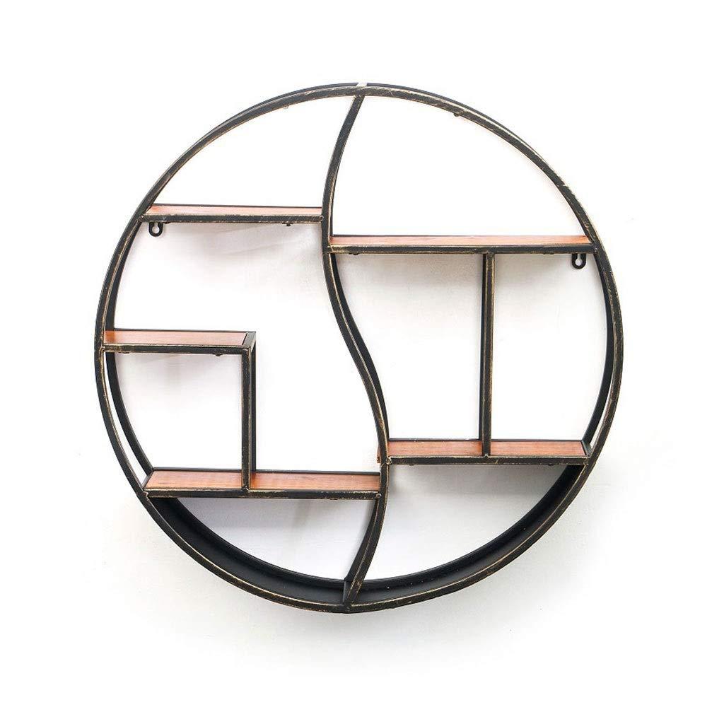 LDG 金属 ウォールシェルフ、4層 壁掛け棚 ストレージ 木製 壁掛けシェルフ 装飾的なぶら下げ ディスプレイラック - 円形 (色 : A, サイズ さいず : 60cm) B07S3YNY2F A 60cm