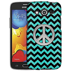 Samsung Galaxy Avant Case, Slim Fit Snap On Cover by Trek Peace on Chevron Zig Zag Turquoise Black Case