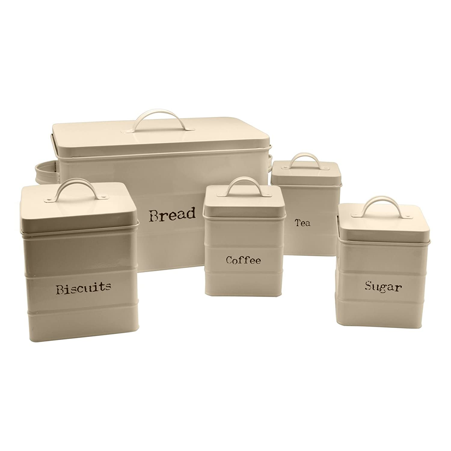 Harbour Housewares Metal Bread Bin and Canister Set - Cream