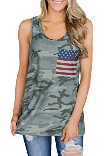 44ff9fc183849 Fainosmny Womens Tops Loose Tank Tops American Flag Vest Camouflage ...