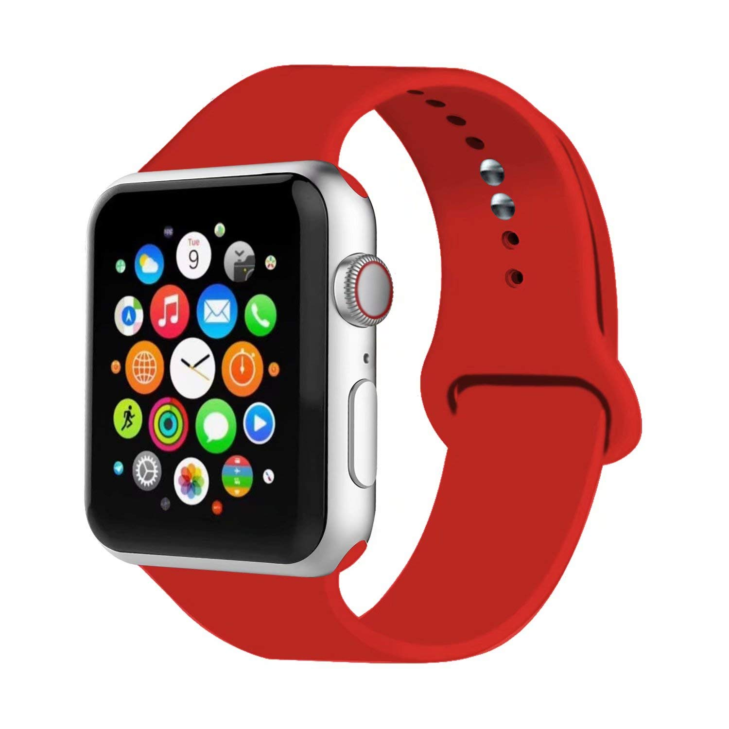IYOU Sport Band Compatible with Apple Watch Band 38MM 42MM, Soft Silicone Replacement Sport Strap Compatible with Apple Watch Series 3/2/1, All Models More Colors Choose product image