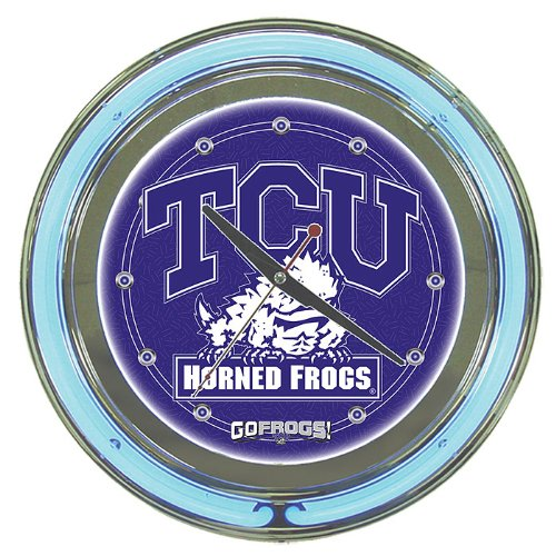NCAA Texas Christian University Chrome Double Ring Neon Clock, 14'' by Trademark Gameroom