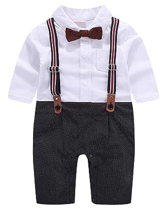 cool elves - Traje de Vestir Mono Ropa de Bautizo para Bebés Niño de 3-18 Meses para Bautismo Fiesta Boda Navidad con Pajarita Tirantes de Pantalones