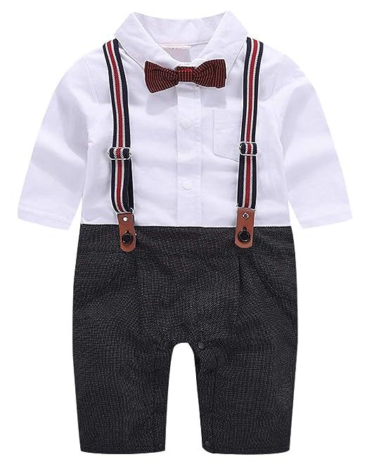 cool elves - Traje de Vestir Mono Ropa de Bautizo para Bebés Niño de 3-18 Meses para Bautismo Fiesta Boda Navidad con Pajarita Tirantes de Pantalones: ...