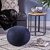 Belle Knitted Cotton Pouf, Dark Blue