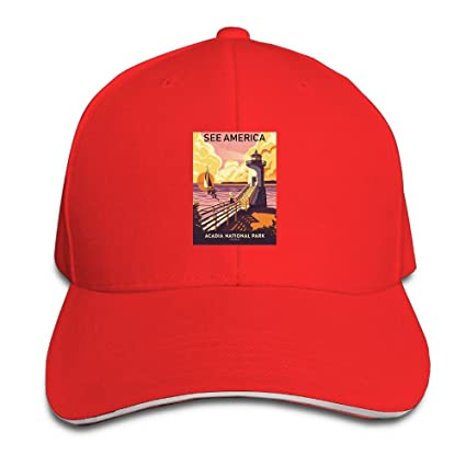 Amazon.com   GYUAQ Travel Poster Acadia National Park Unisex Baseball Caps  Vintage Trucker Caps Dad Hats   Sports   Outdoors 52bc89d65683