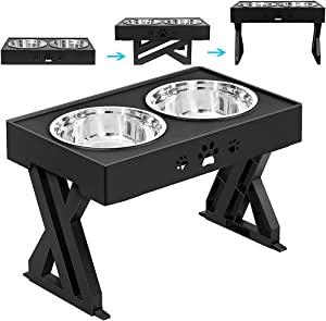 """Elevated Dog Bowls Adjustable Raised 1.5L Dog Food Bowls Stand 2 Stainless Steel Non-Slip No Spill Adjusts to 3 Heights 2.8"""" 8"""" 12""""for Puppies Kittens"""
