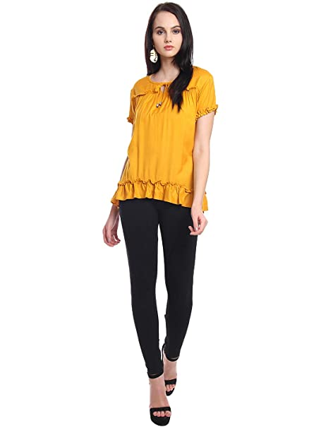 8d52803495b63 Itsyor Mustard Color Designer Casual Women s top  Amazon.in  Clothing    Accessories