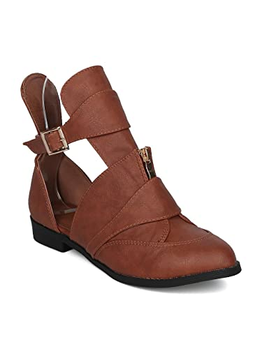 Women Festival Ankle Boot - Cut Out Buckled Bootie - Trendy Androgynous Moto Boot - HC78 by Machi Collection