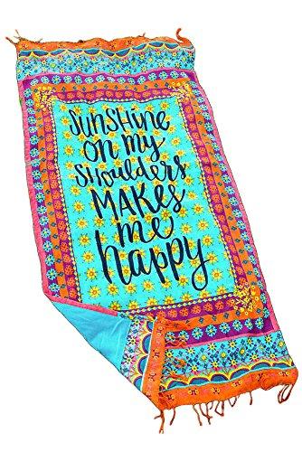Summer Beach Towel Sunshine Makes Me Happy Tassel beach blankets Cover Up
