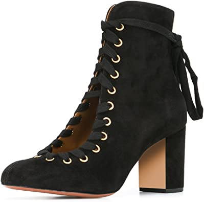 XYD Solid Round Toe Shoes Lace Up Ankle