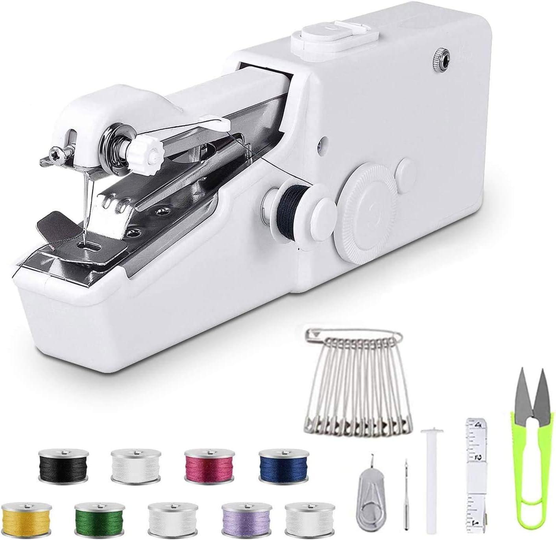 Máquina de coser a mano – Mini máquina de coser eléctrica portátil inalámbrica – Pequeña máquina de coser a mano – Garantía de devolución de por vida – Negro