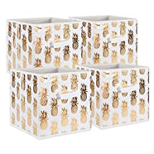 """DII Foldable Fabric Storage Containers for Cube Organizers, Toys, Cloths or Knick Knacks (Set of 4), 11 x 11 x 11"""", Pineapple Gold"""