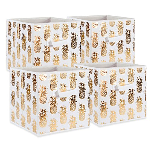 DII Fabric Storage Bins for Nursery, Offices, Home Organization, Containers Are Made To Fit Standard Cube Organizers (11x11x11) Pineapple Gold - Set of 4