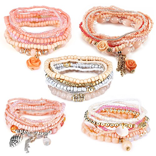Bangles Bangle Shell (RareLove Bohemian White Beaded Bracelet Stretch Wrap Bangle With Charms Shells Round Layered (Light Coral 5pcs))